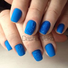 Matte Blue Glitter-y Nail Art Design. This very pretty glittery, matte blue nail art design is definitely going to be on your list, if you know what simplicity with elegance is.