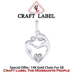 """Mother & Child Heart Pendant 14K Gold W/ Chain Without Chain """"Mother\'s Day Gift"""". Starting at $1"""