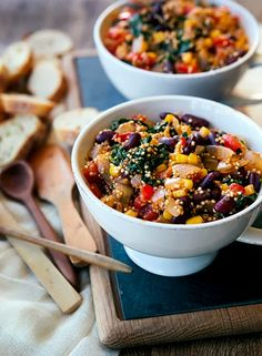 Vegetarian Quinoa Chili with Kale and Red Beans