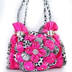 Amazon.com: New Arrival Rhinestone Gemstone Studded Ruffle Floral Handbag Purse with Oval Buckled Lace-stitched Ruched Ruffle Style. Animal Print Shiny Glossy Fashion Tote Hobo Satchel Handbag Purse in Hot Pink and Leopard: Clothing $39.99
