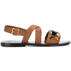 Marni 'Fussbett' embellished sandals (€520) ❤ liked on Polyvore featuring shoes, sandals, brown, brown leather sandals, brown flats, ankle wrap sandals, flat shoes and leather shoes