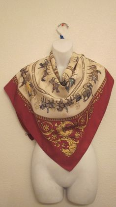 """a vintage HERMES silk scarf, beautiful XL cream gold and crimson  silk scarf  35"""" by 35"""" by ShowStopingVintage on Etsy"""