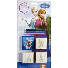 Frozen stempel set 5 delig. Deze 5 delige stempelset van Frozen bevat drie stempels, een stempelkussen en drie potloden.
