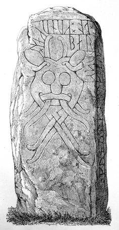 File:Den store Aarhus-Runesten3 masken.jpg Viking Life, Viking Art, Rune Stones, Viking Designs, Viking Runes, Tent Decorations, Aarhus, Dark Ages, Ancient Artifacts