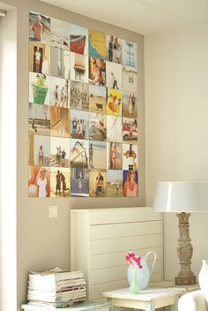 Photo collage by Ingrid Jansen. It would be cute to make a collage like this for Oliver's room. Decorating Your Home, Diy Home Decor, Inspiration Wand, Photowall Ideas, Photo Displays, Display Photos, Wall Collage, Family Collage, Wall Art