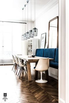 Sophisticated Parisian apartment by Royal Roulotte Decoration & Architecture d' Interieur Sweet Home, Parisian Apartment, French Apartment, Banquette Seating, Dining Room Lighting, Scandinavian Home, Dining Room Design, Home Fashion, Interior Inspiration