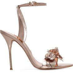 SOPHIA WEBSTER Lilico metallic-leather heeled sandals ($595) ❤ liked on Polyvore featuring shoes, sandals, floral high heel sandals, embellished sandals, open toe shoes, sophia webster shoes and floral sandals