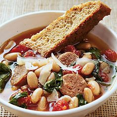 Hearty Italian Soup with Parmesan-Pepper Cornbread Biscotti | MyRecipes.com  I just made this soup. It is really, really good....It will be one to fix over and over again!
