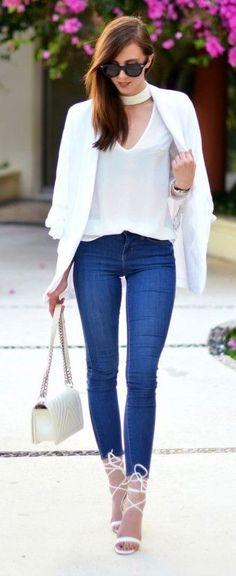 White Choker, White Blazer, White Tee, Skinny denim, White Lace Up Sandals |Vogue Haus                                                                             Source