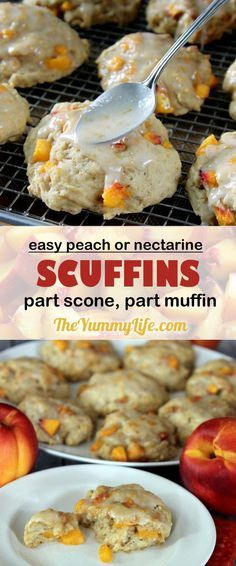 Peach or Nectarine Drop Scuffins are a cross between a scone and a muffin. Made with a quick, honey-sweetened, yogurt batter that is dropped in mounds on a baking sheet and ready in 30 minutes, start to finish. From http://TheYummyLife.com
