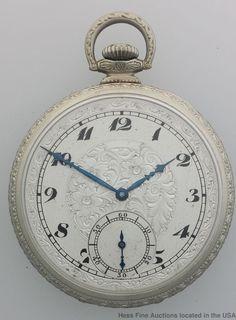 Black Enamel Art Deco Pocket Watch Artistic Elgin 17J 12s Pocket Watch #Elgin