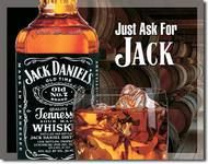 """Jack Daniels Tin Sign Blackfeatures black background with an old number 7 logo, sign reads""""""""Tennesee Sour Mash Whiskey"""""""".Measures- 16""""""""H X 12-1/2""""""""W Has holes in corners for easy hanging! Rolled edges"""