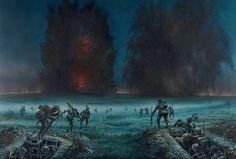 7 de Junio de 1917, la infantería británica avanza hacia la Sierra de Messines tras el estallido de 19 minas bajo las posiciones alemanas, cortesía de Peter Dennis. Más en www.elgrancapitan.org/foro