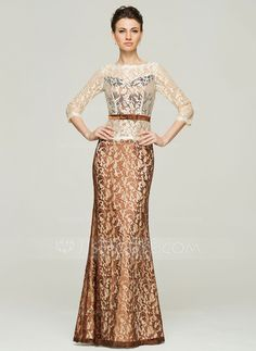 Trumpet/Mermaid Scoop Neck Floor-Length Lace Mother of the Bride Dress With Bow(s) (008062560)
