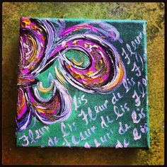 Funky Fleur 6x6 painted canvas by NorthernVisions on Etsy, $22.00
