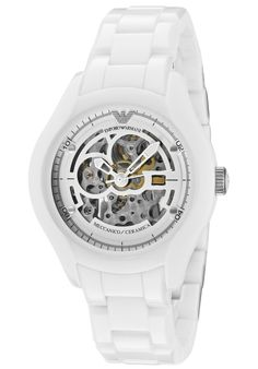 Emporio Armani Watches,Men's Ceramica Mechanical Skeletonized See Thru Silver Dial White Ceramic, Men's Emporio Armani Mechanical Wat. Emporio Armani, Armani Men, Giorgio Armani, Modern Watches, Casual Watches, Watches For Men, Brown Chinos, Armani Watches, Jewerly