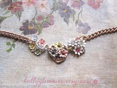 Flower Assemblage Necklace / OOAK / Enamel and Rhinestone