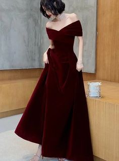 Beautiful Dark Red Velvet Off Shoulder Bridesmaid Dress, A-line Long Prom Dress