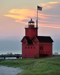 """Big Red"" Holland Harbor Lighthouse, Holland, Michigan"