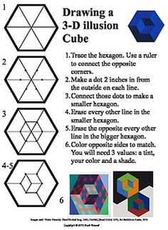 How to draw a op art illusion cube Drawing Lessons, Op Art Lessons, Drawing Techniques, Drawing Tips, Drawing Ideas, Freetime Activities, Art Activities, Middle School Art, Art School