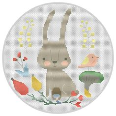 Bunny cross stitch pattern PDF Woodland Animal cross by Xrestyk