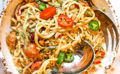 <p>The buckwheat noodles and zucchini noodles are tossed in a fiery peanut sauce that is to die for.  Plus this recipe makes a large portion so this is a great dish to share with your friends. </p>