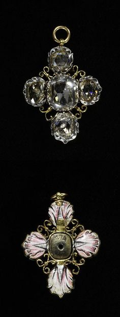 Silver cross, set with rose-cut diamonds, the back gold with painted enamel tulips. Circa 1650-1700