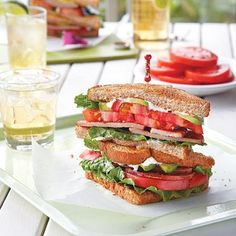 296 calories per serving: B.L.A.S.T. (bacon, lettuce, avocado, and sweet tomato) Sandwich