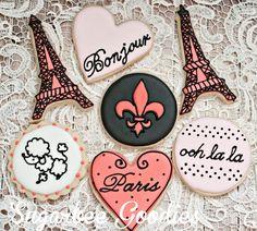 Paris Themed Sugar Cookies 12 by SugarbeeGoodies on Etsy