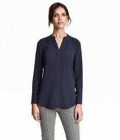 Crêpe Blouse | Dark blue | Ladies | H&M US
