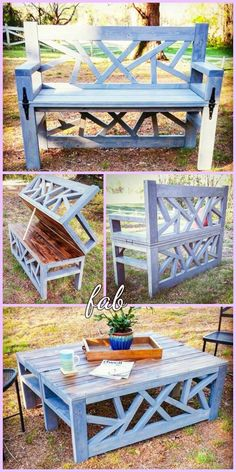 DIY Outdoor Convertible Bench Coffee Table Tutorial DIY Outdoor Convertible Bench Coffee Table Tutorial This image has get. Diy Art Projects, Diy Furniture Projects, Woodworking Projects Diy, Wood Projects, Popular Woodworking, Garden Coffee Table, Diy Coffee Table, Pallet Crafts, Wood Crafts
