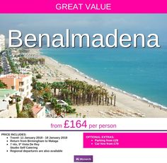 **2018 departure** from £164 per person Birmingham Airport departure Costa del Sol FM be an early bird and get your holiday booked now for next yr