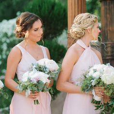 Blonde and Brunette Bridesmaids Side Braid Low Bun. Bridesmaid Hair Side Bun, Bridesmaid Hair Brunette, Wedding Hair Brunette, Side Swept Hairstyles, Bride Hairstyles, Bridesmaid Hairstyles, Bridesmaids Updos, Bridesmaid Ideas, Wedding Hair Down
