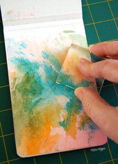 Ink a background using markers and an acrylic block, no need for paints - tutorial