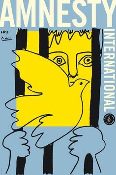 La Colombe et le Prisonnier, A poster with an image donated to Amnesty by Pablo Picasso. The best Amnesty International posters over the last Pablo Picasso, Picasso Dove, Picasso Art, Picasso Prints, Picasso Sketches, Protest Posters, Political Posters, Political Art, Protest Art