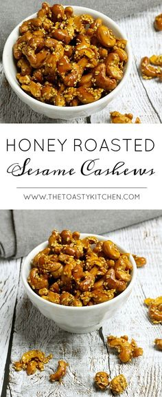 Honey Roasted Sesame Cashews are a sweet and salty snack. Whole cashews and sesame seeds are coated in honey, with a hint of cayenne pepper. Honey Roasted Cashews Recipe, Cashew Recipes, Vegetarian Recipes, Great Recipes, Whole Food Recipes, Snack Recipes, Sweets Recipes, Desserts, Sweets