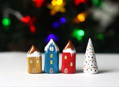 Christmas clay houses  Little winter village with 3 by rodica, $44.00