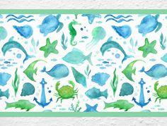 Meereswelt Bordüre für Kinderzimmer