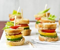 Light & Fresh Picnic Recipe  -  Garden Sliders: These mini sandwiches feature slices of crisp cucumber, juicy tomato, grilled summer squash, and a garlicky white bean puree.