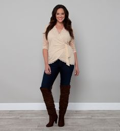 Creamy Lace Wrap Top. Sizes 10 -32W. Featured on the ElegantPlus.com Main Page the week of September 21, 2012