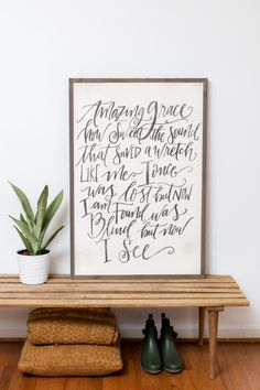 AMAZING GRACE sign {2x3}  This is one of the signs in our SOUL-SCRIPT collection. It was hand lettered by @soulscripts.  Because this is a handlettered design, it is not available for customization.  ~~~~~~~~~~~~~~~~~~~~~~~~~~~~~~~~~~~~~~~~~~~~~~~~~~ SIGN SIZE: 2x3 ft. VERTICAL  LETTERING: Country White/Black  PRICE: $135 + shipping/handling  ~~~~~~~~~~~~~~~~~~~~~~~~~~~~~~~~~~~~~~~~~~~~~~~~~~  **PLEASE READ ALL INFORMATION BELOW**  ALL SIZES ARE APPROXIMATE  TURNAROUND TIME IS 2-3 WEEKS…