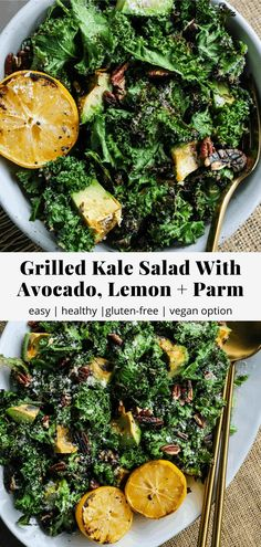 This grilled kale salad is paired with avocado, lemon, garlic, toasted pecans, and parmesan. Grilling kale makes it SO flavourful and a little crispy – it's one of my favourite salad recipes to date! #kale #salad #healthyrecipe Kale Salad, Avocado Salad, Salad Recipes, Healthy Recipes, Healthy Grilling, Toasted Pecans, Vegan Options, Dietitian, Pecans