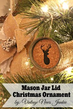 Oh Deer, Mason Jar Christmas Ornaments (& a Gift Card Giveaway) Mason Jar Lid Christmas Ornament {Step-by-Step Tutorial} Christmas Mason Jars, Christmas Love, Diy Christmas Ornaments, Homemade Christmas, Rustic Christmas, All Things Christmas, Winter Christmas, Christmas Decorations, Christmas Ideas