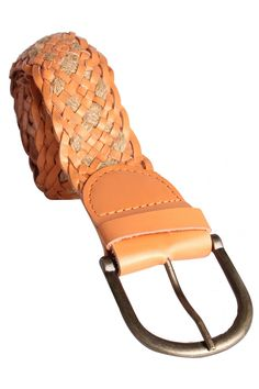 Woven Leather Belt - Leather & Cotton String Belt, Smooth Finished Tan Colored Leather Used, Nickel Finishing, Pin Buckle Fastening, Adjustable Length - Rs. 399.00
