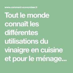 Tout le monde connaît les différentes utilisations du vinaigre en cuisine et pour le ménage.Mais on oublie souvent que c'est un produit naturel qu'on peut aussi utiliser dans le ja