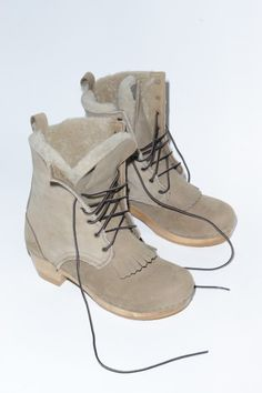 """SVEN No. 6 Store Stapled Clog Boot 8"""" Lace Up Shearling Boot on Mid Heel in String  $430.00 Removable Kiltie detail"""