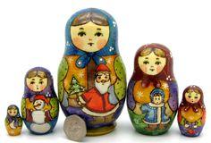 Russian nesting dolls 5 HAND PAINTED Winter Babushka Santa Snow Maiden RYABOVA