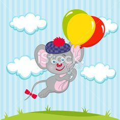 Mouse in balloons Royalty Free Stock Vector Art Illustration
