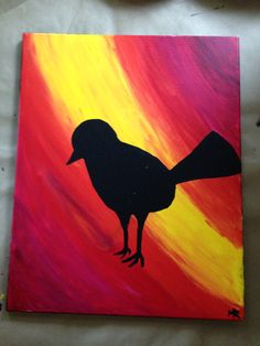 """My newest original work. Silhouette of a bird. 16""""x20"""". Acrylic on canvas. Available for purchase here: https://www.etsy.com/shop/TheLegitimateGiraffe?ref=search_shop_redirect"""