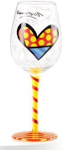 Romero Britto Wine Glass  Heart Design with Red and Yellow Stripe Hand Painted Stem * You can get more details by clicking on the image.